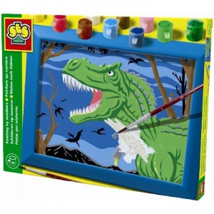 SES Maľovanie podľa čísel - Dinosaurus s rámikom