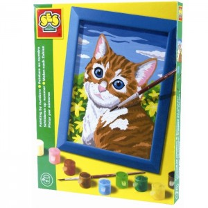 SES Maľovanie podľa čísel - Mačka s rámikom