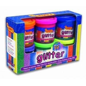 Temperové farby glitter 6x55 ml, kelímok