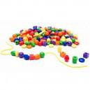 Školské plastové navliekacie korálky, 100 ks + 12 šnúrok