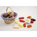 Prútený košík - Mini potraviny, 36 ks