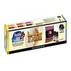Farby na textil tmavý INDIA, sada 6x20 ml
