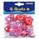 Penové srdcia samolepice, 36 ks