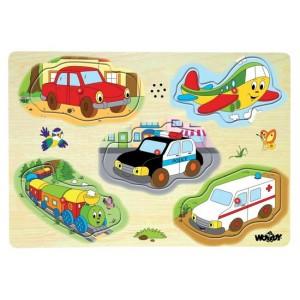 Zvukové puzzle Doprava, 5 ks