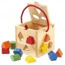Drevená kocka s tvarmi na vkladanie