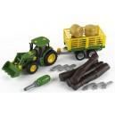 John Deere traktor s prívesom na drevo a seno