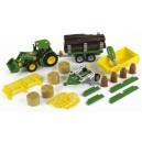 John Deere traktor zo sklápačkou, 3 prívesy a pluhom