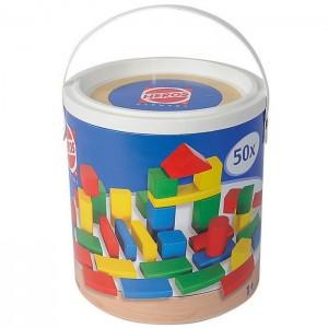 Drevené kocky farebné 50 dielov