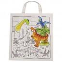 Bavlnená taška na vymaľovanie Dinosaury