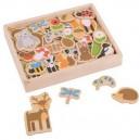 Drevené magnetky Lesné zvieratká, 35 ks