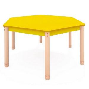 Stôl šesťuholník, farebná doska Ø 138 cm