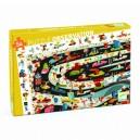 Djeco Objavovacie puzzle - Automobilové preteky, 54 dielikov