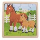 Bigjigs Toys Drevené puzzle Kôň so žriebätkom, 16 dielikov