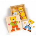 Bigjigs Toys Drevené obliekacie puzzle v krabičke - Pán Medveď