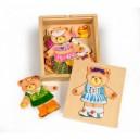 Bigjigs Toys Drevené obliekacie puzzle v krabičke - Pani Medvedica