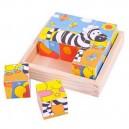Bigjigs Toys Kubus Safari, 3x3 kocky