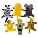 Bigjigs Toys Maňušky prstové Safari, 6 ks