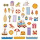 Bigjigs Toys Drevené magnetky Prázdniny pri mori, 35 dielikov