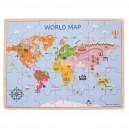 Bigjigs Toys Drevené puzzle Mapa sveta, 35 dielikov