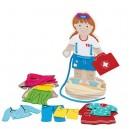 Bigjigs Toys Drevená obliekačka dievča, 27 dielikov