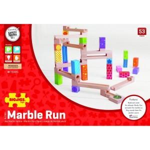Bigjigs Toys Drevená farebná guličková dráha, 53 dielikov