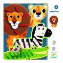 Djeco Prevliekanie drevených zvieratiek Lassanimo, 4 ks